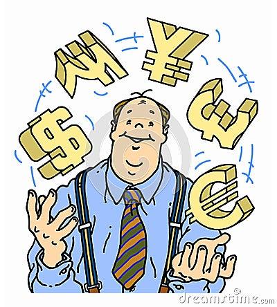 Säker affärsman som jonglerar valutasymboler
