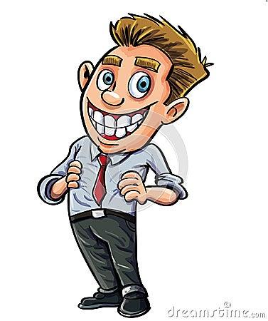 Säker kontorsarbetare för tecknad film