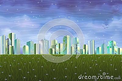Säubern Sie ökologische Stadt über grüner Sommerwiese