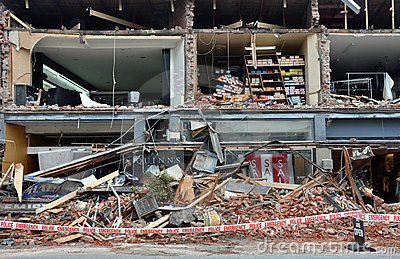 Séisme de Christchurch - systèmes de Merivale détruits Photo éditorial