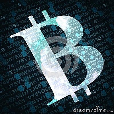 Símbolo de moeda da moeda do bocado com números e letras no fundo