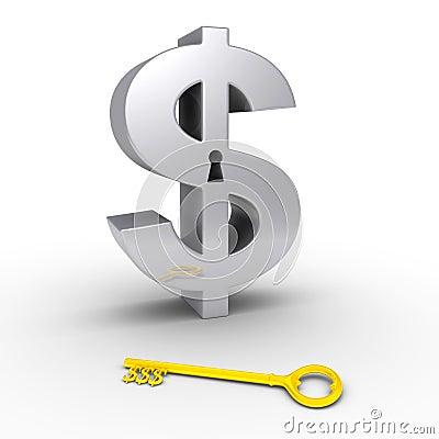 Símbolo do dólar com buraco da fechadura e chave na terra