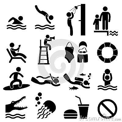 Símbolo do sinal da praia do mar da piscina dos povos do homem