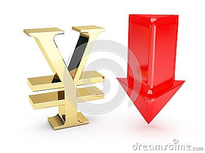 Símbolo euro de oro y abajo flechas