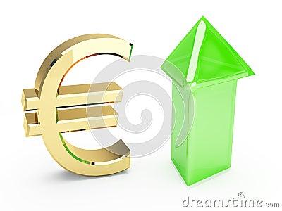 Símbolo euro de oro y flechas ascendentes