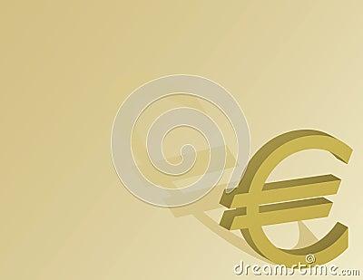 Símbolo euro en un fondo del oro