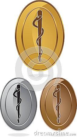 Símbolo médico del caduceo - sola serpiente oval
