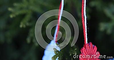Símbolo rumano y de Moldavia de la primavera Martisor en fondo natural verde con los elementos tricolores Martisor es un str rojo metrajes