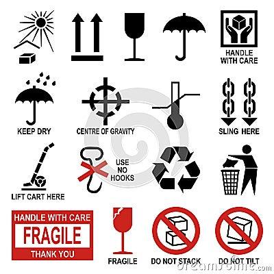 Símbolos da embalagem e do transporte