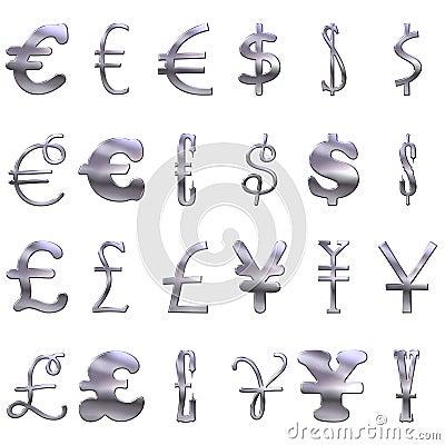 Símbolos de moeda 3D de prata excêntricos