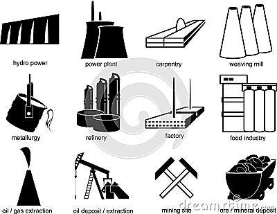 Símbolos de objetos industriais