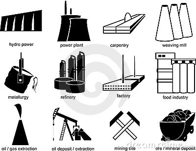 Símbolos de objetos industriales