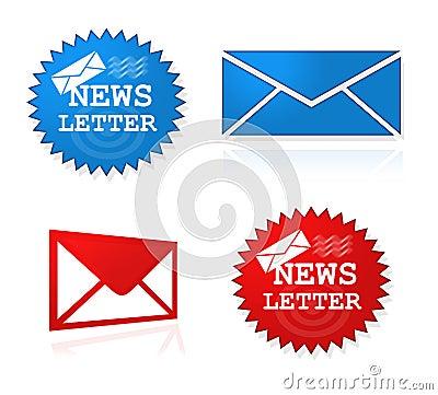 Símbolos do Web site do boletim de notícias
