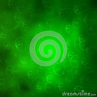 Símbolos monetários em um fundo verde da nuvem