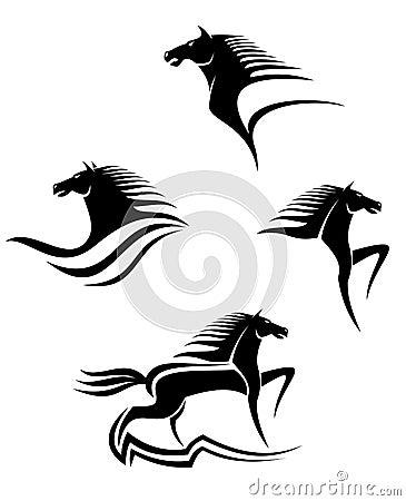 Símbolos negros de los caballos