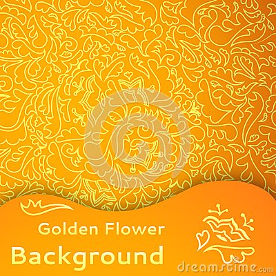 Sömlös bakgrund för guld- blomma.