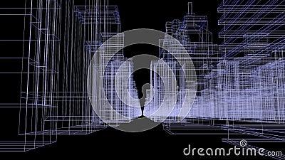 Sömlös tolkning för begrepp för stad för öglasabstrakt begrepphologram 3D med den futuristiska vit- och blåttmatrisen Digital byg arkivfilmer