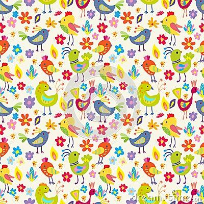 Sömlösa roliga tecknad filmfåglar