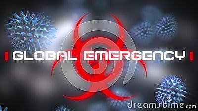 Słowa Globalny Nagły Napis o znaku zagrożenia zdrowia i rozprzestrzenianiu się komórek koronawirusowych royalty ilustracja