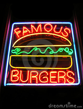 Słynny znak hamburgery neon