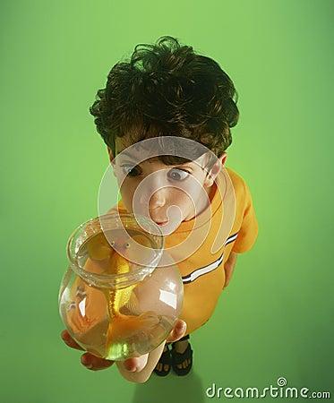 S-1211-Boy holding goldfish