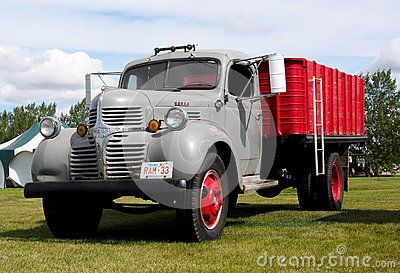 1940s Antique Restored Red And Grey Dodge Farm Truck Editorial Stock Image
