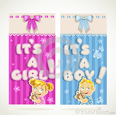 It`s a boy and it`s a girl vertical banners