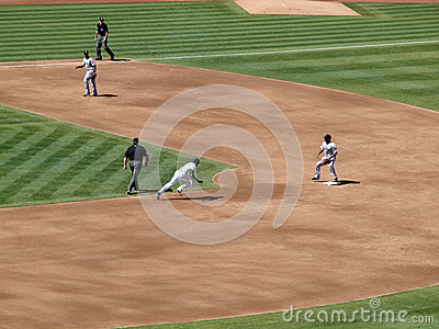 A s Coco Crisp runs towards second base as he attemps to steal t Editorial Stock Photo