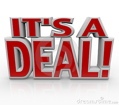 It s a Deal 3D Words Agreement or Sale