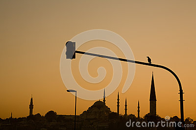 Süleymaniye Mosque silhouetted at sunset, Istanbul