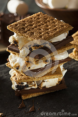 Free S Mores With Marshmallows Chocolate And Graham Crackers Stock Image - 41742311