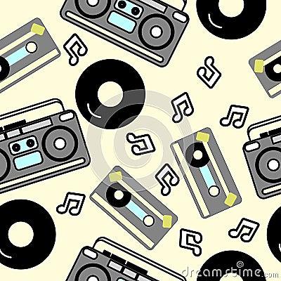 80s nostalgia style, Vintage retro 80`s fashion seamless background Vector Illustration