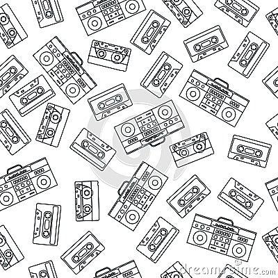 80s nostalgia style. Vintage retro 80`s fashion seamless pattern. Vector Illustration