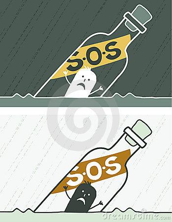 S.O.S colored cartoon