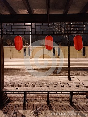 snowing street at night Stock Photo