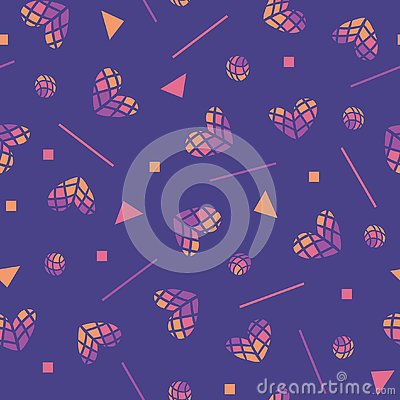 80s vector seamless pattern with hearts and geometric motifs. Colored hearts, Valentines day background. Vector Abstract Vector Illustration
