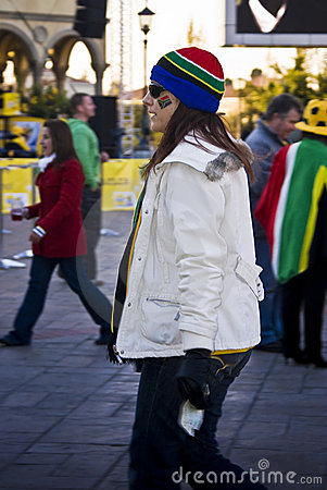 SA Soccer Fan Bundled Up to Brave the Cold Editorial Stock Photo