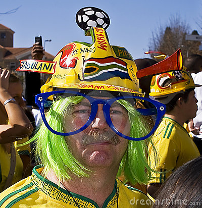 SA Soccer Fan Wearing Makaraba Editorial Stock Photo