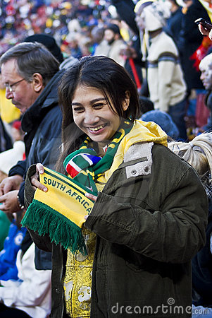 SA Soccer Fans Bundled Up & Brave the Cold Editorial Photography