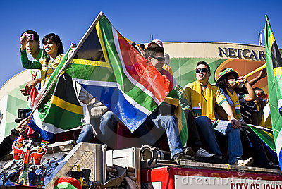 SA Soccer Fans Celebrate in Sandton Streets Editorial Stock Photo