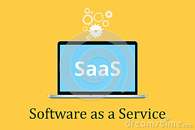 Saas software as a service concept with laptop and poster text gear icon Vector Illustration