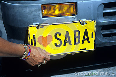 Saba. Dutch Antilles number plate Editorial Stock Image