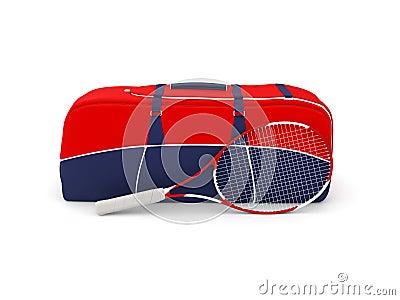 Sacchetto e racchetta isolati di tennis
