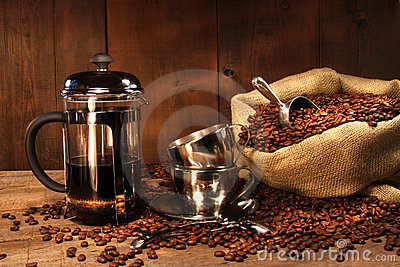 Sack of coffee beans with french press