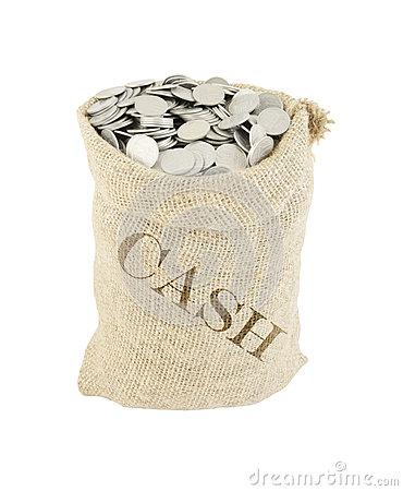 Sack with coins isolated