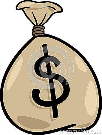 Sack of dollars clip art cartoon illustration