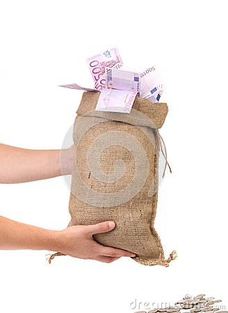Sack with money.