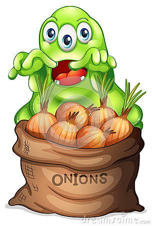 A sack of onions with a monster