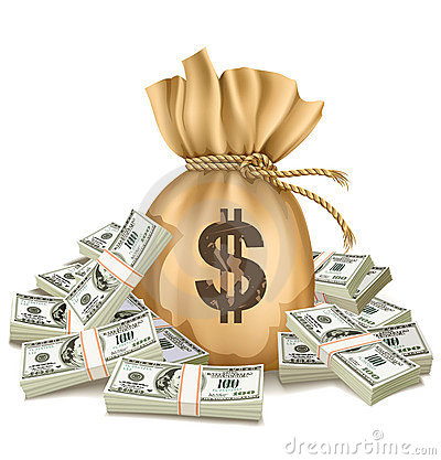 Free Sack With Packs Of Dollars Money Stock Photos - 13028853