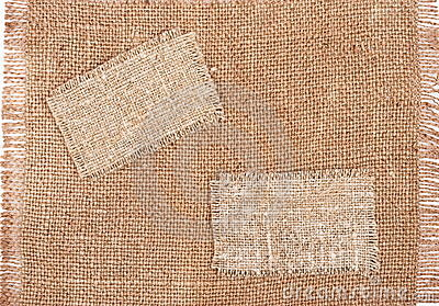 Sackcloth tags on sackcloth material